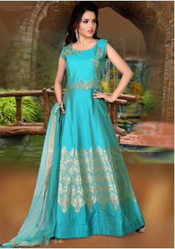 Sea Green Color Party Wear Gown